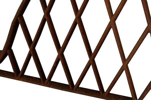 Pair of Swedish Cast Iron Trellis Arched Horse Stall Dividers