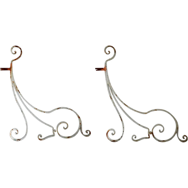 Pair of French Painted Wrought Iron Brackets