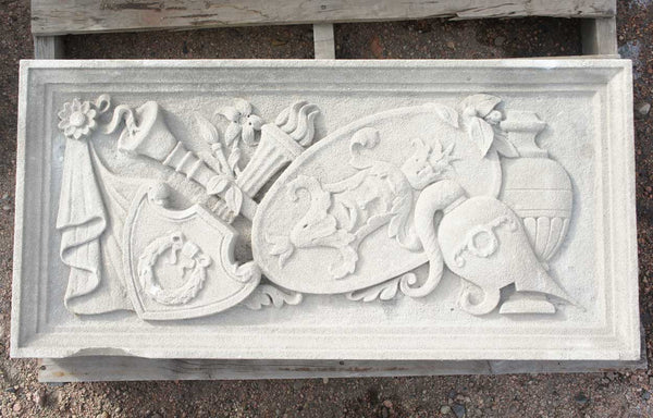 American Limestone Theater Masks Architectural Lintel Panel