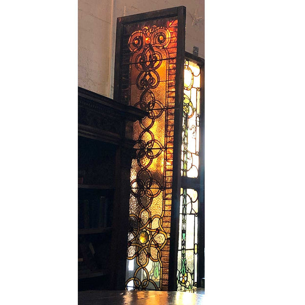 American Victorian Tall Narrow Stained and Jeweled Leaded Glass Stairway Window