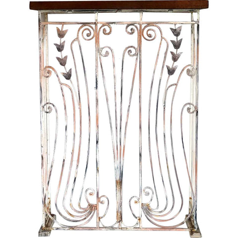 Small Swedish Jugendstil Wrought Iron Grille Wooden Top Console Table
