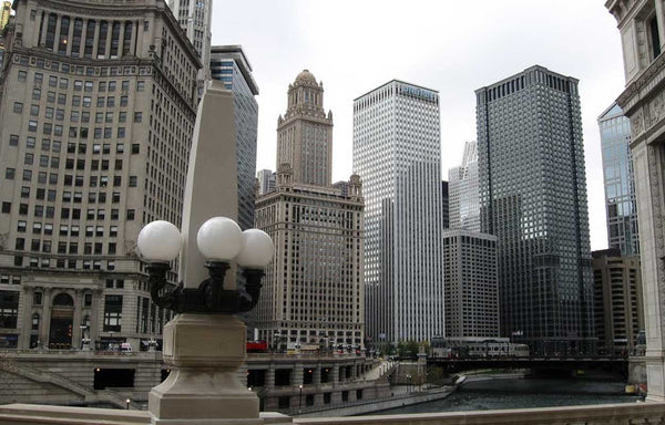 American Neoclassical Limestone Architectural Four-Light Chicago River Walk Obelisk