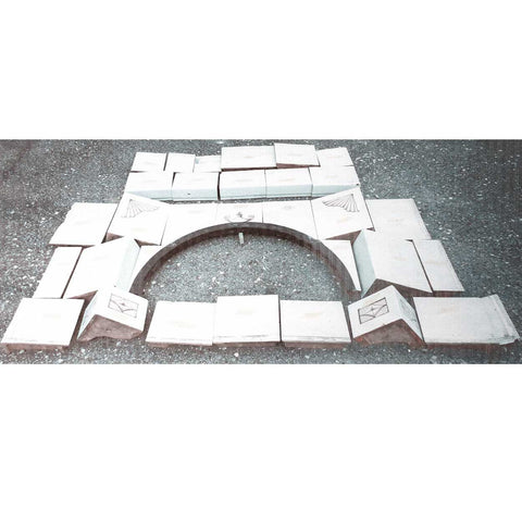 Swedish Pottery Tile Arched Fireplace Surround