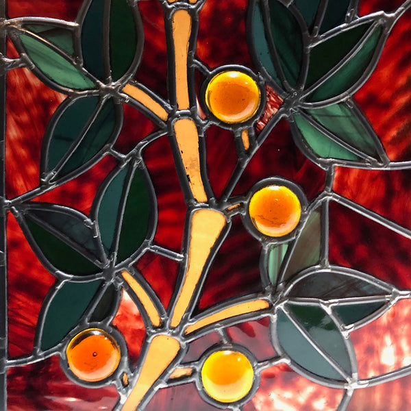 American Aesthetic Movement Jeweled, Leaded and Stained Glass Berry and Leaf Branch Window