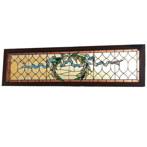 American Victorian Stained, Jewelled and Leaded Glass Wreath and Ribbon Transom Window
