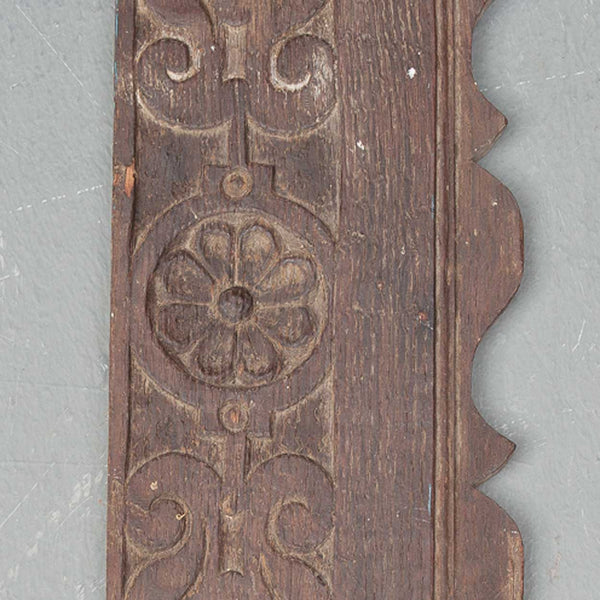 Early Danish Carved Oak Scalloped Panel