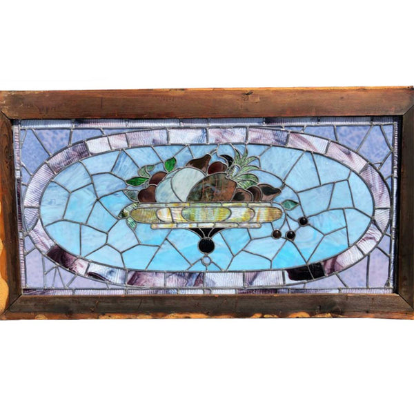 Large American Victorian Leaded and Stained Glass Basket Window
