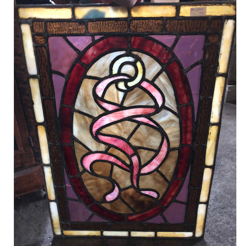 Pair of Small American Victorian Opalescent Stained and Leaded Glass Ribbon Windows