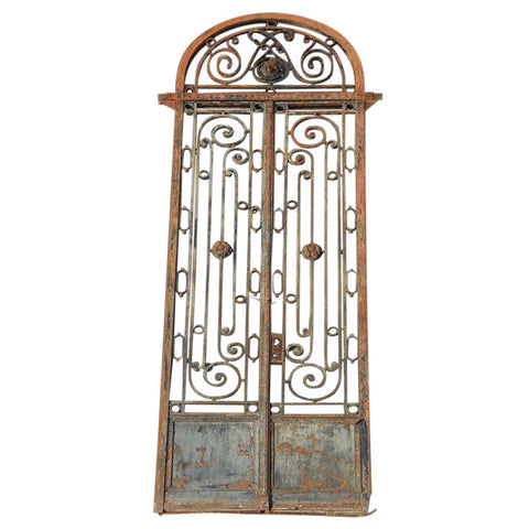 Argentine Beaux Arts Wrought Iron Double Door Entry Gate and Arched Transom