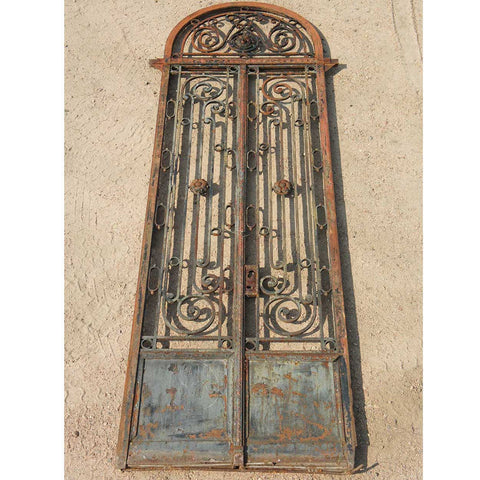 Argentine Beaux Arts Wrought Iron Entry Gate and Transom