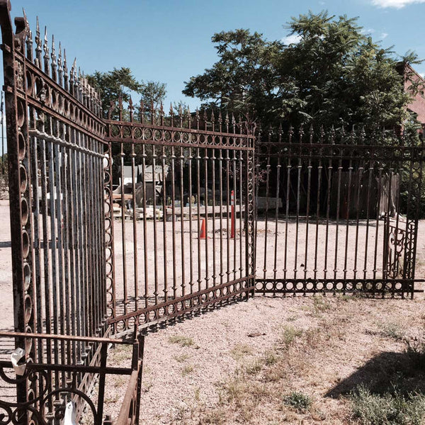 Set of Three Argentine Baroque Revival Forged Iron Fence Panels