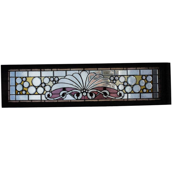 Long American Victorian Beveled and Jewelled Glass Transom Window