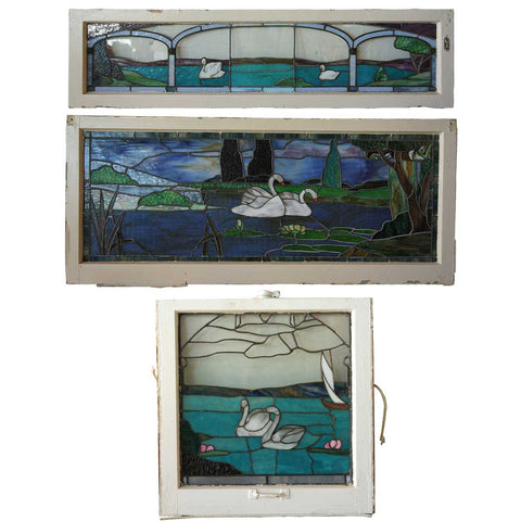 Set of Three American Arts and Crafts Stained, Leaded and Copper Foil Glass Scenic Swan Windows