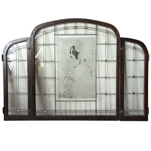 American Fairy Land Stained and Leaded Arched Glass Three-Part Window