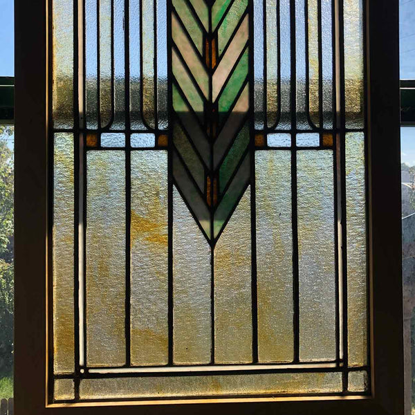 Framed American Prairie School Stained and Zinc Framed Glass Window