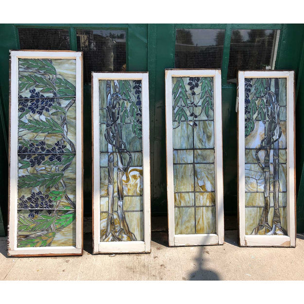 Four-Part American Stained and Leaded Glass Wisteria Staircase Landing Window