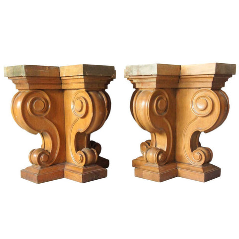 Pair of American Renaissance Revival Solid Oak Table Bases