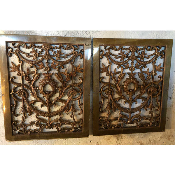 Pair of American Campion Mansion Neoclassical Bronze Heat Register Grilles