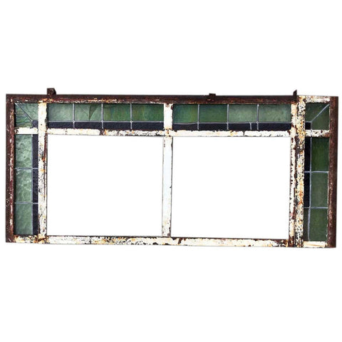 Victorian Painted Iron and Leaded Stained Glass Window Transom