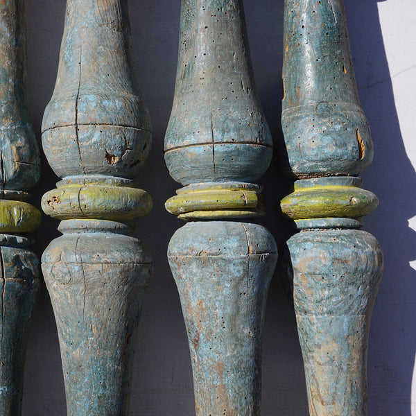 Set of Five Spanish Baroque Blue Painted Pine Staircase Spindles