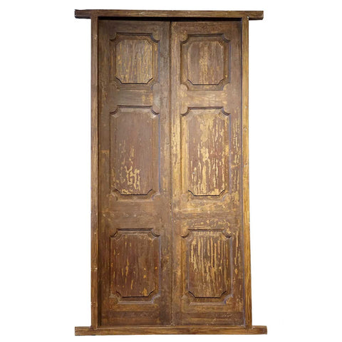 Large Indian Teak Paneled Double Door with Jamb  sc 1 st  Eron Johnson Antiques & Antique and Vintage Double Doors