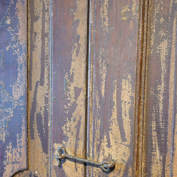 Large Indian Painted Teak Paneled Double Door with Jamb