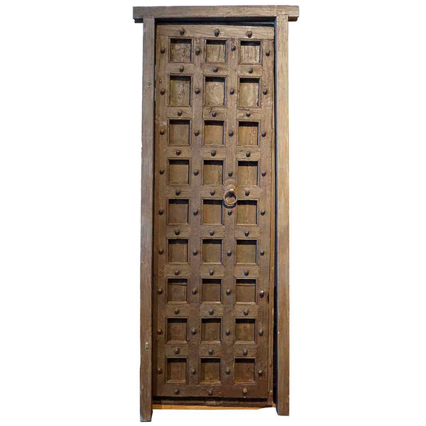 Indian Painted Teak and Iron Mounted (Clavos) Single Door with Frame