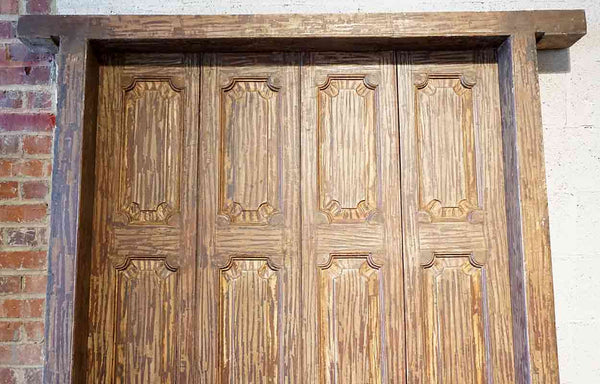 Large Indian Teak Paneled Double Door with Jamb