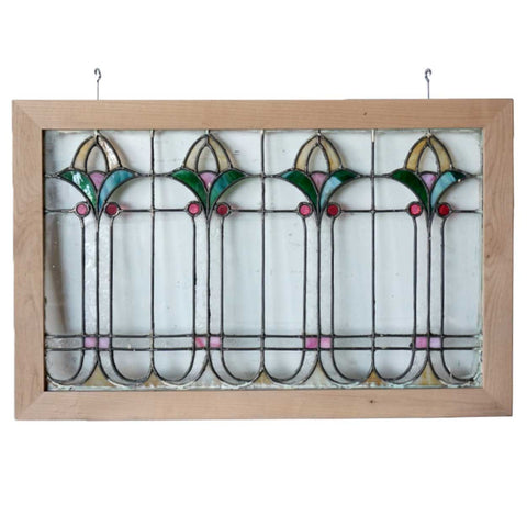 American Arts and Crafts / Bungalow Stained, Leaded, Jeweled and Beveled Glass Window