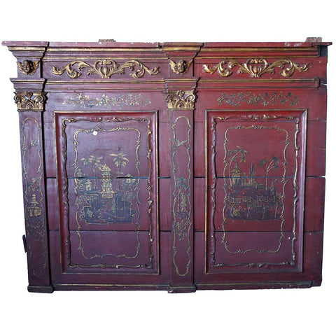 Continental Baroque Revival Parcel Gilt Red Painted Pine Wall Panel