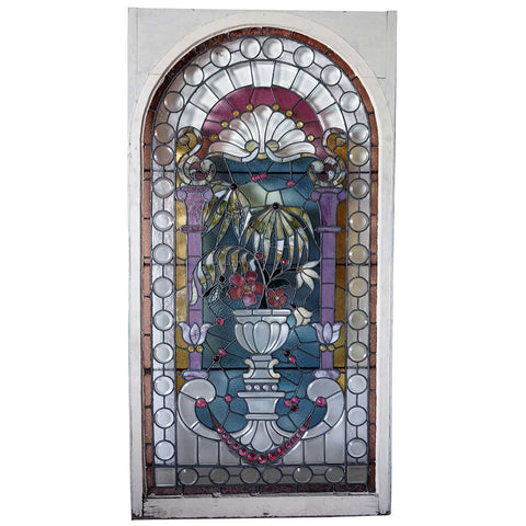 American Victorian Stained Glass Stairwell Window
