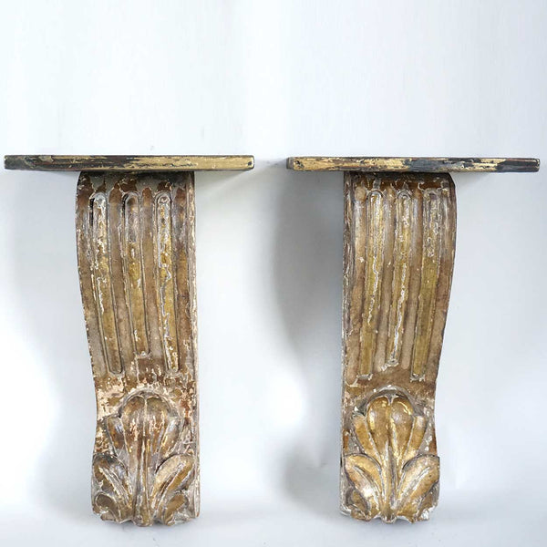 Small Pair of Indian Goan Gilt Teak Architectural Scrolled Wall Bracket Shelves