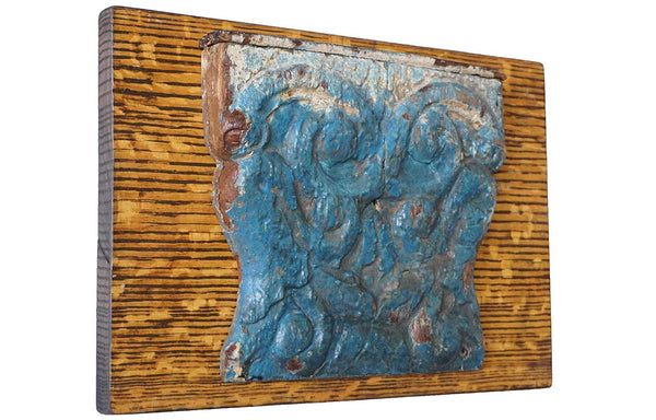 Small French Pilaster Capital Architectural Fragment With Old Blue Paint