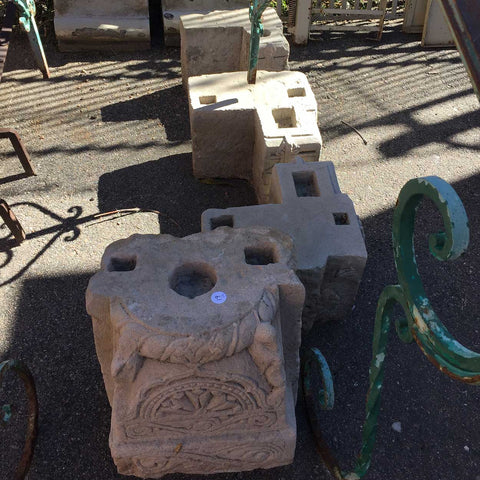 Three Indian Limestone Corner Bracket Pillar Bases and Pilaster Base