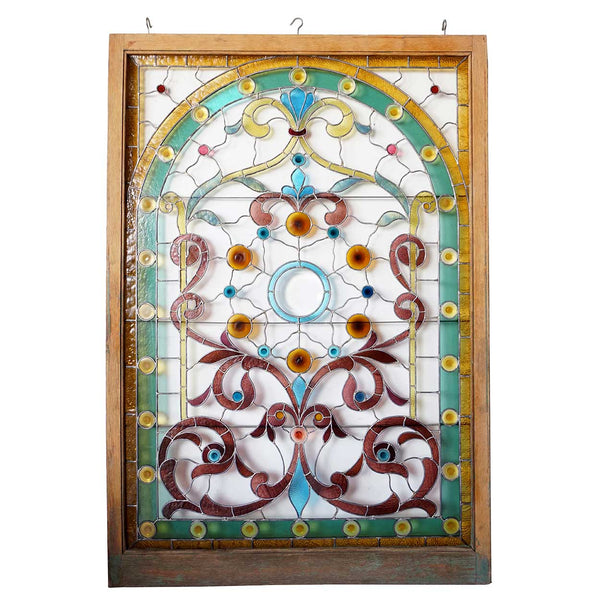 Large American Lang House Victorian Stained, Jewelled and Beveled Glass Window