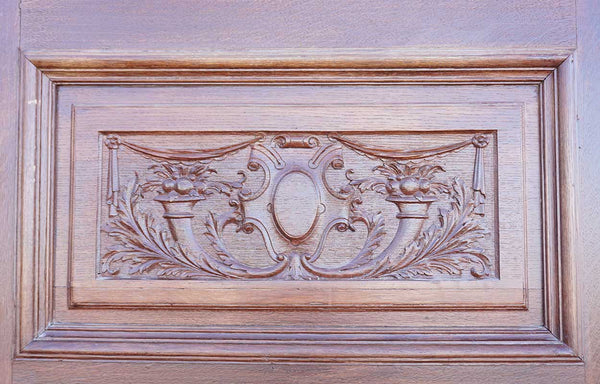 English Victorian Quarter Sawn Oak Carved Panel Single Door