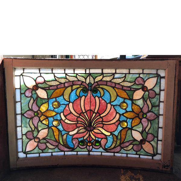 American Boettcher Mansion Stained, Leaded and Jewelled Glass Curved Window