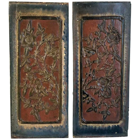 Pair Small Chinese Lacquered Wood Carved Floral Panels