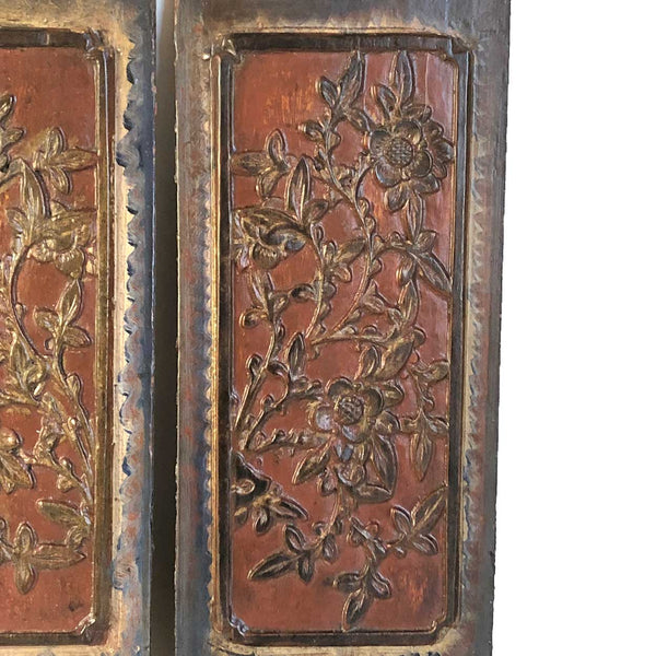 Pair Small Chinese Qing Lacquered Wood Carved Floral Panels