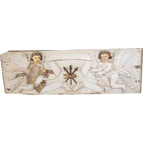 Indo-Portuguese Baroque Painted Teak Architectural Altar Wall Panel