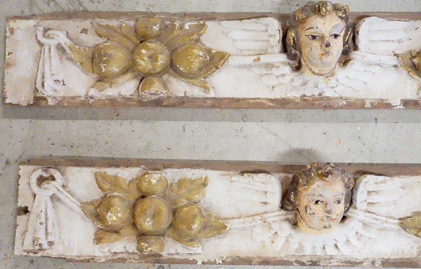 Two Indo-Portuguese Baroque Painted Teak Architectural Altar Wall Panels