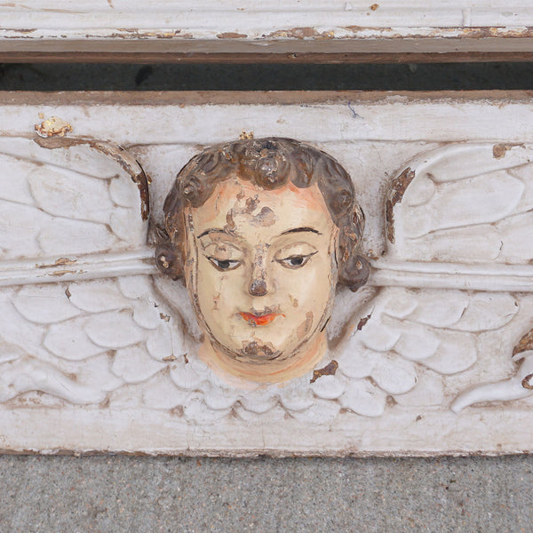 Pair Indo-Portuguese Baroque Painted Teak Architectural Putti Cornices