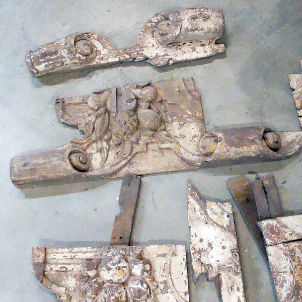 Eight Indo-Portuguese Baroque Painted Teak Architectural Altar Carvings