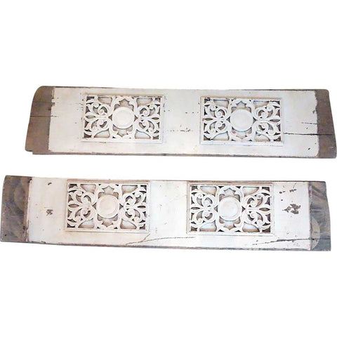 Set of Two Indo-Portuguese Baroque Painted Teak Architectural Carved Planks