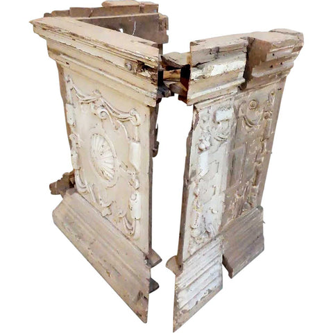 Three-Piece Indo-Portuguese Baroque Painted Teak Architectural Column Base