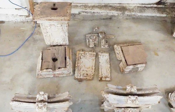 Lot of Indo-Portuguese Baroque Painted Teak Architectural Pilasters, Panels, Capitals