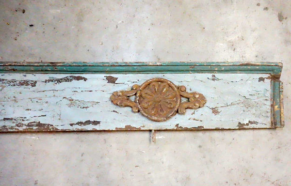 Indo-Portuguese Baroque Painted Teak Architectural Blue Altar Panel