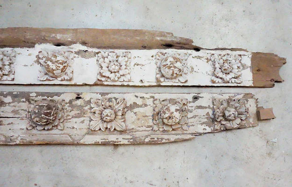 Two Indo-Portuguese Baroque Painted Teak Rose Carved Panels