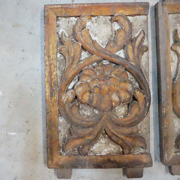 Pair Indo-Portuguese Baroque Painted Teak Architectural Altar Panels