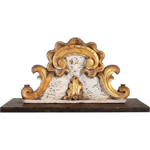 Indo-Portuguese Baroque Gilt and Painted Teak Architectural Altar Cornice on Stand